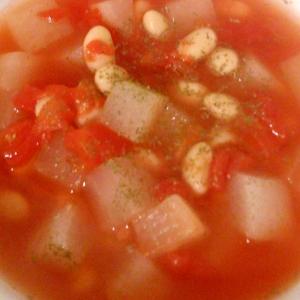 大根と大豆のトマトスープ
