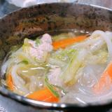 野菜たっぷり鶏のスープ春雨
