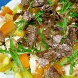 ノンオイルドレッシングで☆海藻と豆腐の香味サラダ♪