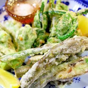 山うどの穂先の天ぷら*山菜の天ぷら