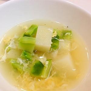 じゃがいもとブロッコリーの茎の卵スープ