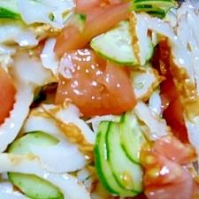 ちくわとトマトときゅうりの麺つゆサラダ♪