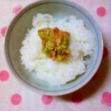 ☆小ねぎと醤油漬けにんにくと塩麹乗せのご飯☆*:・