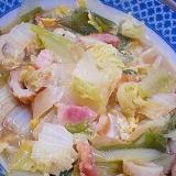 「白菜&ベーコン&白ネギ&竹輪の煮物」  ♪♪