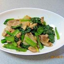 子供用はロール小松菜と豚肉の炒め物