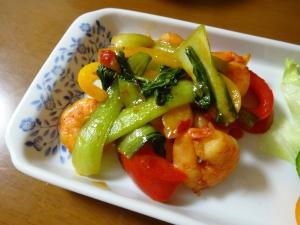 ピリ辛!エビと野菜の中華炒め