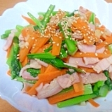 小松菜とベーコンのにんにく炒め