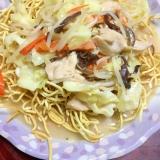 鶏ムネ&野菜たっぷりチャンポン麺de皿うどん!