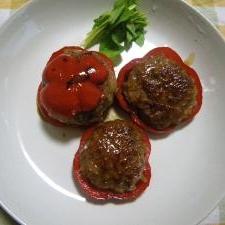 彩りキレイ*パプリカの肉詰めの照り焼き