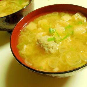 つみれと揚げと葱の味噌汁