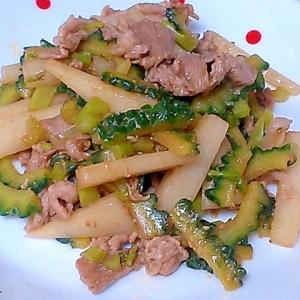 ゴーヤ、大根、豚肉の簡単味噌炒め!
