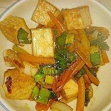 人参・厚揚げ・長ネギのコチュジャン醬油炒め