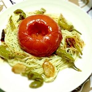 丸ごとトマトのパスタ。