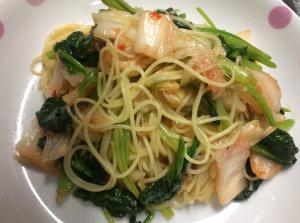 小松菜とキムチのパスタ