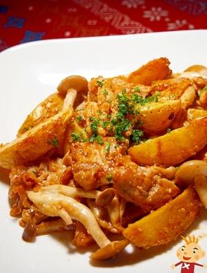 揚げポテトとブタ肉の味噌炒め