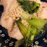 麺つゆde豚肉とチンゲン菜とエノキの和風炒め^_^