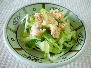☆炒めキャベツとピーマンの鮭缶サラダ☆