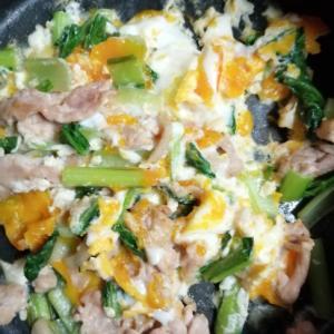 小松菜と豚肉の炒めもの