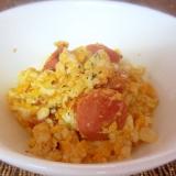 豆腐とウィンナーの卵マヨ炒め