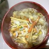 メヒカリとキンピラ天の蕎麦。