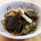 切り昆布とナスの煮物〜フライパン一つで簡単!〜