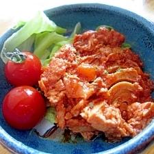 トマトツナ味玉葱炒りサラダ添え