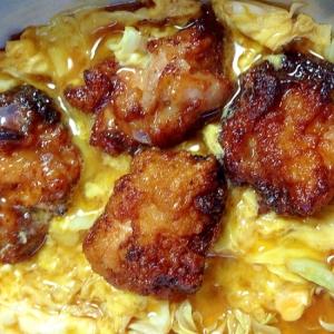鶏のから揚げで親子煮