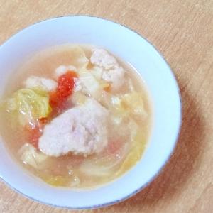 肉団子とトマトとキャベツの中華風スープ