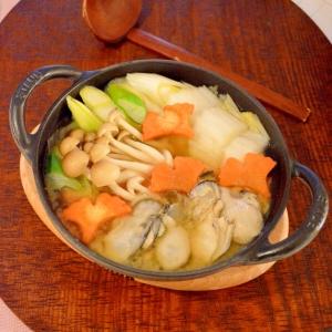 ストウブ鍋で♪1人前で味噌味の☆牡蠣鍋
