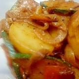 ジャガイモとカボチャの焼肉のたれ&マヨ炒め