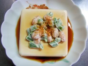 いんげん&大豆の唐辛子かけ☆冷ややっこ
