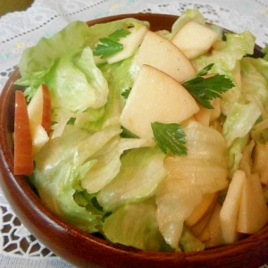 リンゴとレタスとパセリのレモンドレッシングサラダ