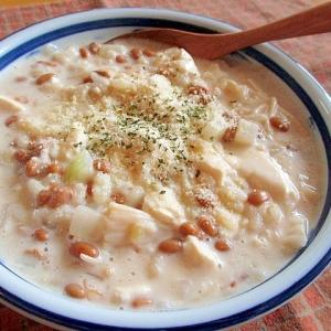 納豆と豆腐と豆乳のとろとろクリームリゾット♪