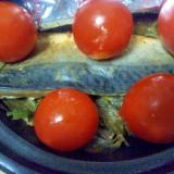 アスパラいそがき鯖味噌蒸しミディトマト添え