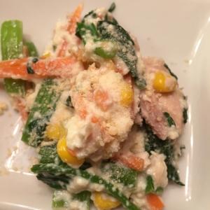 小松菜とコーンの洋風白和え