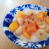柿とバナナとマカダミアナッツのヨーグルト