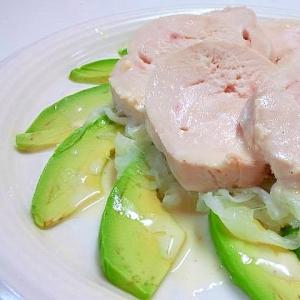 鶏ハムとアボカドのサラダ~マヨネーズソースをかけて