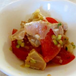 マグロとトマトのみじん切り野菜マリネ
