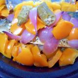 鯖味噌煮オレンジパプリカおくら紫ペコロス蒸し