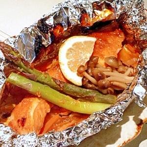 秋鮭の「コチュ☆味噌」ホイル焼き。