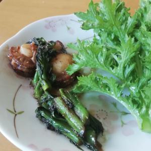 タラの芽とホタテの焦がしバター醤油焼きとワサビ菜添
