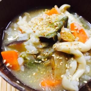 リメイク!サツマイモと梅干し入り味噌汁雑炊