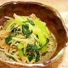 小松菜とモヤシの生姜醤油和え