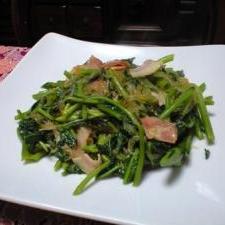空心菜と春雨ベーコン