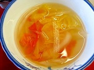 白菜とトマトの和風スープ