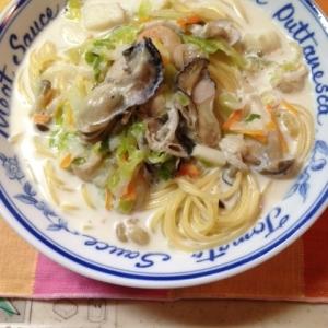 牡蠣のクリームスープ・スパゲティ