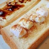 マシュマロとキャラメルクランチとシナモンのトースト