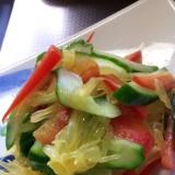 胡瓜とパプリカと八朔のサラダ