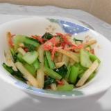 小松菜,ジャガイモ,桜エビのえび塩炒め