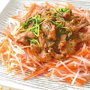 塩麹豚と豆苗のあっさり和風ソテー